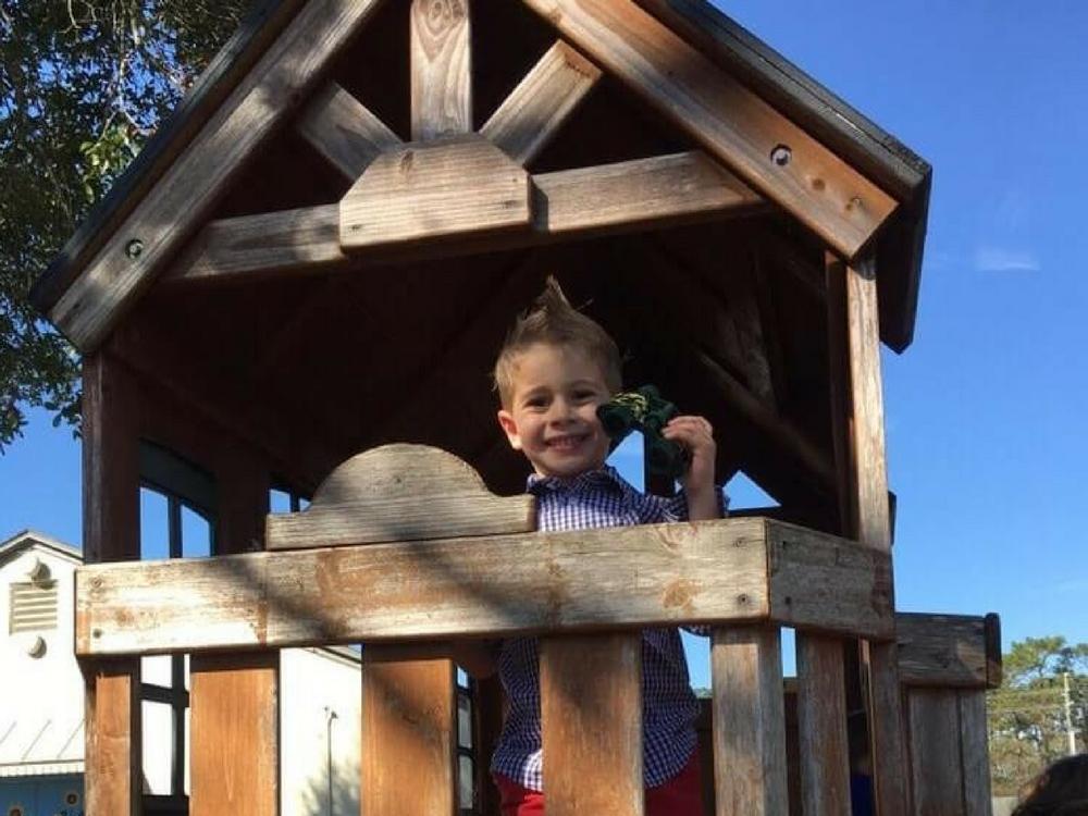 Boy smiling on playground
