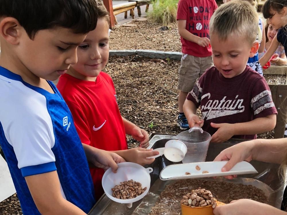 Three children in outdoor classroom
